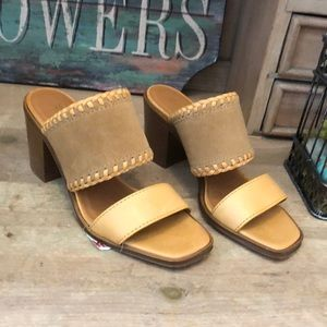 NWT Frye Ashley Sandals Heeled Mules Suede Leather
